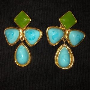 EXTREMELY RARE VINTAGE Turquoise Chanel  Earrings